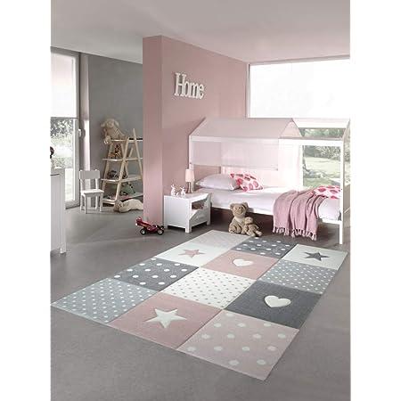 Gr/ö/ße:/Ø 120 cm Redondo TT Home Alfombra Infantil De Juego Cuadros Puntos Estrella Luna Pastel Rosa Blanco Gris