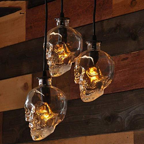 Retro Bar Chandelier Skull Chandelier Vidrio Botella de vino Chandelier Personalidad Café Colgante Luces Tienda Colgante Luces Moderno Loft Restaurant Luz de techo (Tamaño: Ronda 3 Lotes