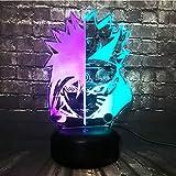 Uzumaki Naruto y Sasuke - Lámpara de dibujo para niños, diseño de animales, cambio de color mixto, 7 lámparas de mesa LED, decoración de dormitorio para adolescentes (Mix Naruto Face