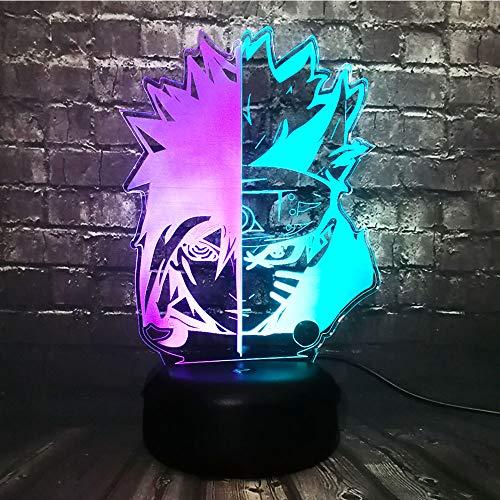 Uzumaki Naruto-Maske, Lampe, japanisches Cartoon-Anime-Thema, coole Figur, Sasuke Gesicht, gemischte Farben, LED, Jungen-Schlafzimmer, Dekoration, Nachtlicht, Kindertag