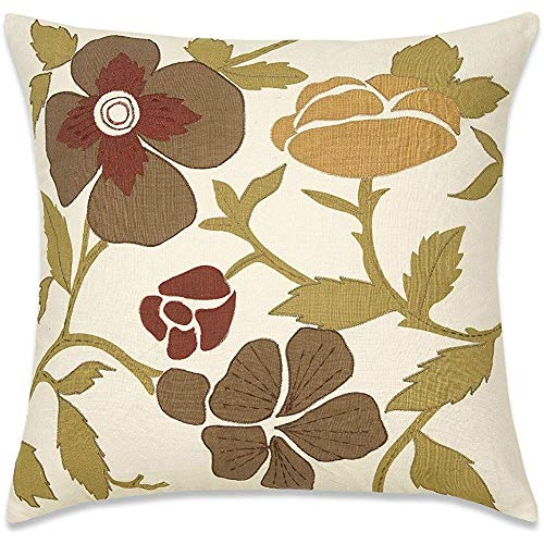 WEURIGEF Funda de Almohada de sofá Hecha a Mano para sofá Cama Retro Apliques Bordado Flor Hojas patrón 45 * 45 cm Pintura jardín floristería decoración