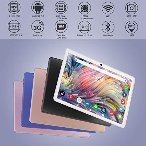 Tablet 10 Zoll Android 9.0 Google Tablet PC mit 2 GB RAM 32 GB ROM Zwei SIM Karte Slot Quad Core,IPS HD Touchscreen, Dual Kamera, WiFi GPS Bluetooth OTG, 3G/2G Telefonanrufen 10