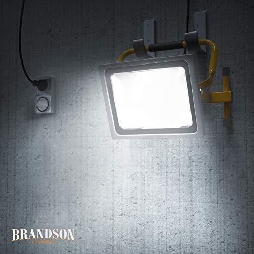 Brandson - Projecteur de chantier à LED 50W - Equivalent à 280W halogène- 4800 lumens - 120degrés faisceau lumineux - 6400K - Montage mural ou sur un support - IP65 - jaune