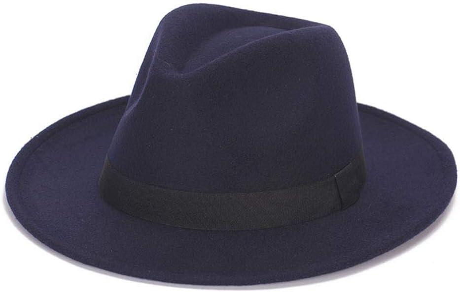 HXGAZXJQ 2019 Fedora Hat Fashion Wool Wide Brim Felt Hat Ladies Shallow Top Fedora Men's Felt Hat Jazz Hat Big Size (Color : Black, Size : 59-61CM)