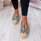 DQS Zapatos de Mujer con Plataforma, Pantuflas, Zapatos Casuales para Mujer, Zapatos de Lona de cáñamo de Lino Transpirables