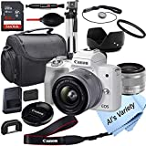 Canon EOS M50 Mark II (White) Mirrorless Digital Camera with 15-45mm Lens + 64GB Card, Tripod, Case, 18pc Bundle