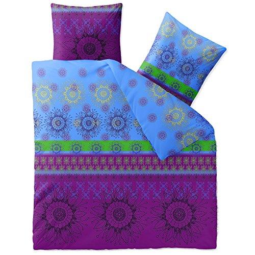 CelinaTex Fashion Bettwäsche 200x220 cm 3teilig Baumwolle Laureen Blumen Violett Blau Grün