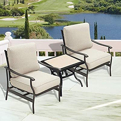 PatioFestival Outdoor Padded Conversation Set,Patio Furniture Sets Modern Bistro Cushioned Sofa Chairs with 5.1 Inch Thick Seat Cushions (3 PCS, White)