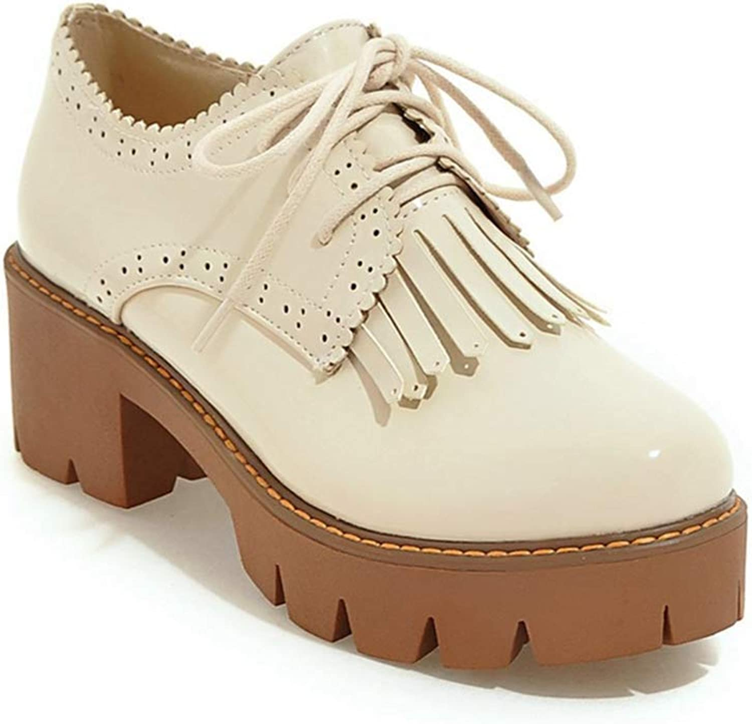 Beautiful - Fashion Women's Lace Up Platform Oxford Pumps Round Toe Wingtip Tassels Chunky Mid Heel Vintage Dress shoes