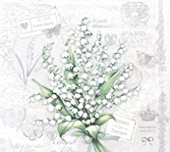 20 X LILY OF THE VALLEY FLOWERS FLORAL PARIS STAMP FRANCE 3 PLY PAPER SERVIETTES NAPKINS 13