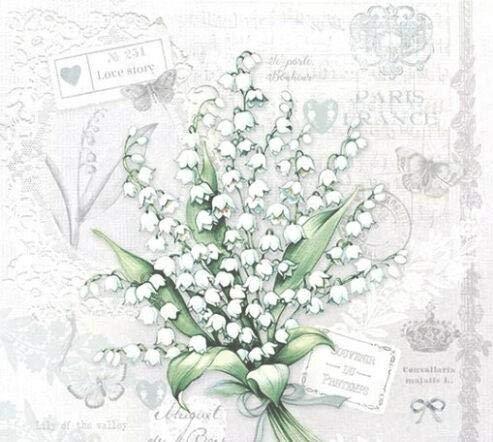 Papierservietten, Motiv: Maiglöckchen, Blumen, Paris, 3-lagig, 33 x 33 cm, 20 Stück
