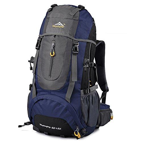 Vbiger Zaino Alpinismo 70L Impermeabile per Viaggio Trekking Unisex (Blu)