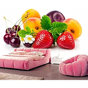 HHCYY 3D Wallpaper Strawberry Peach Cherry Plum Restaurant Bar Kitchen Bedroom Sofa Tv 3D Wallpaper-450cmx300cm:Eventmanager