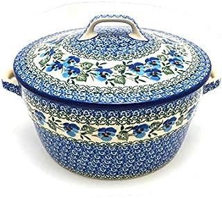 Polish Pottery Baker - Round Covered Casserole - Winter Viola
