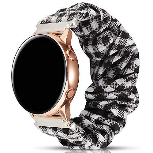 Miimall - Correa de reloj para Samsung Galaxy Watch Active/Active 2, 44 y 40 mm, tela estampada elástica del Galaxy Watch Active/Active 2, 44 mm, 40 mm, rejilla negra