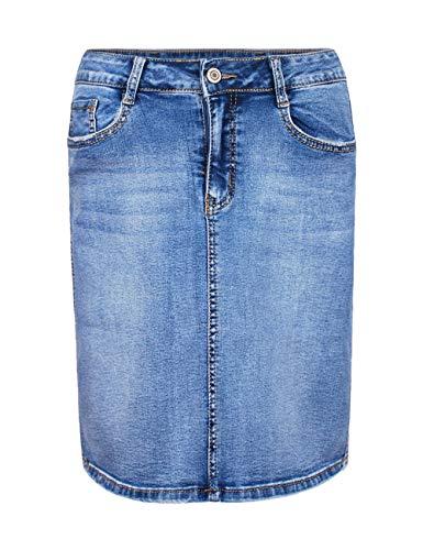 Fraternel Damen Jeans Rock Used kurz Bleistift Stretch Hellblau M / 38