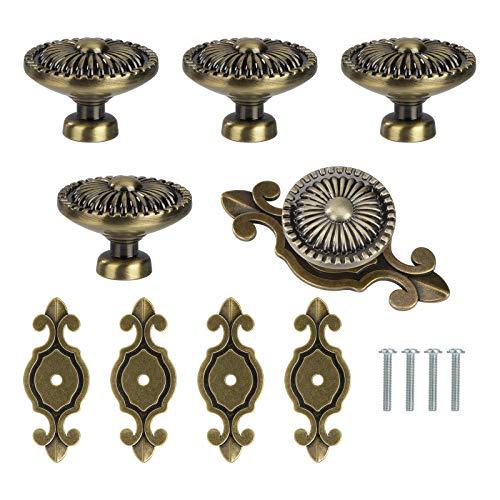 Perillas de Gabinete de Vintage Perillas de Cajón Tiradores de Muebles Perilla de la Puerta con Tornillo Perillas Manijas para Armario Cajón Aparador Cocina 5 Piezas Bronce