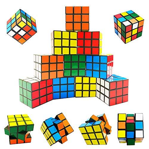 12 Pack Speed Cube Set, Mini Plastic Puzzle Cube, Magic Cube 3x3x3 Cube, Fidget Toys, Puzzle Party Toy for Kids Party Bag Filler, Random Colors, Party Supplies