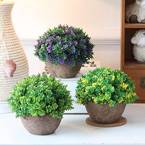 Flores artificiales con maceta, bonsái de simulación, planta de simulación, 1, adornos florales retro semicírculo de trébol pulpa de plástico maceta de simulación de plantas bonsai, trébol morado