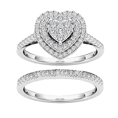 minjiSF Par de anillos de diamante para mujer, geometría en forma de amor, anillos de compromiso, alianzas, anillos de boda, regalo