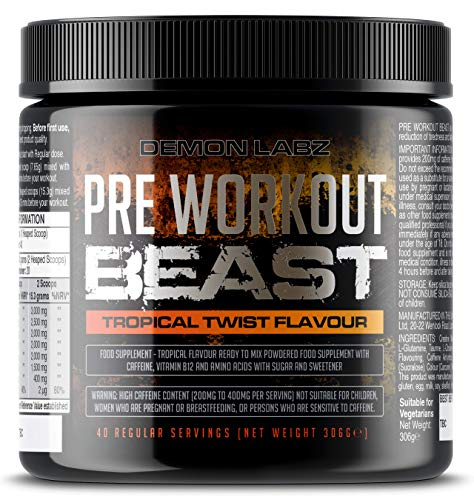 Pre Workout Beast (Tropical Twist Flavour) - Hardcore Pre-Workout Supplement with Creatine, Caffeine, Beta-Alanine and Glutamine (Regular - 306 Grams | 40 Servings)