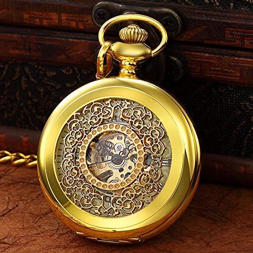 ZIYUYANG Reloj de Bolsillo,Reloj de Cuerda Manual deBolsillo mecánico Luminoso de LujoColgante de números Romanos Oro para Hombres y Mujeres