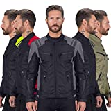 Viking Cycle Ironborn Protective Textile Motorcycle Jacket for Men - Waterproof, Breathable, CE Approved Armor for Bikers (Gray, Large)