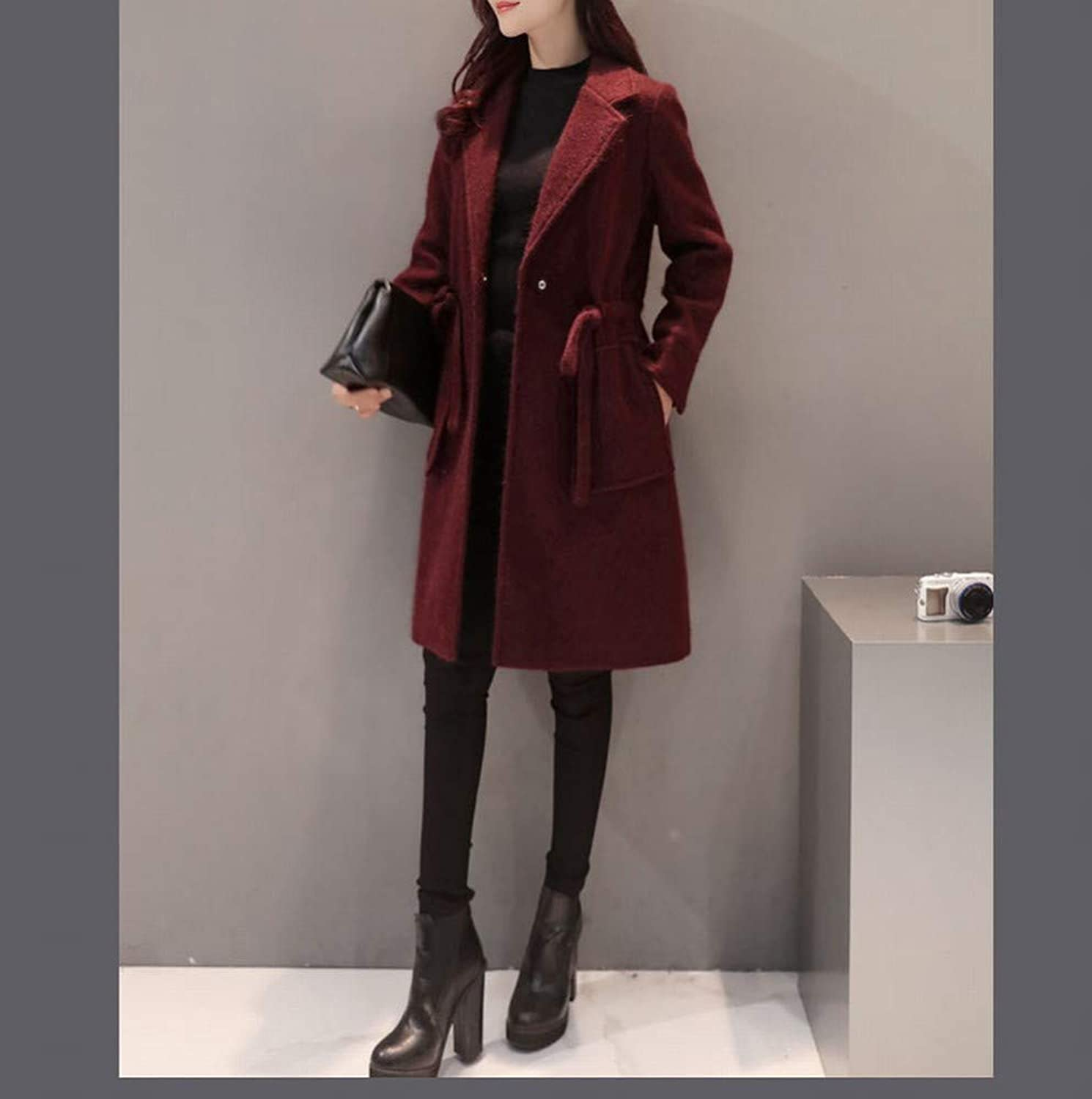 Coat Jacket, Woolen Coat, Woolen Coat, Female Long Section Slim Slim Loose Suit Collar Drawstring Waist Waist Woolen Coat PLLP