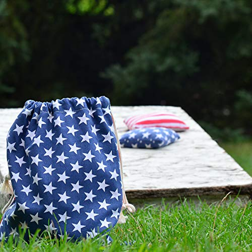 Cornhole Bags Real Corn Filled Corn Hole Bean Bags American Flag Corn Hole Bags Set of 8 Regulation Cornhole Bean Bags Patriotic Duck Cloth Competition Corn Holes Bean Bags (Stars&Stripes-Corn)