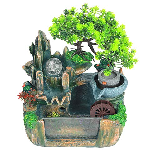 Huakii 【Cadeau d'Avril】 Decoración de Fuente de Resina sintética Feng Shui, Fuente de Mesa, Duradera impulsada por Agua para Dormitorio, Oficina, Estudio en c