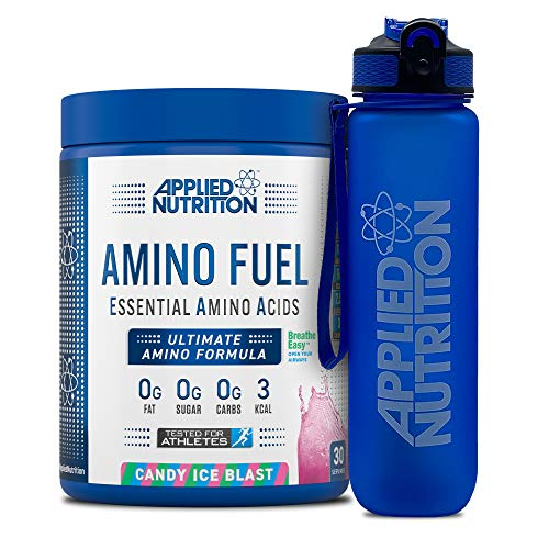 Applied Nutrition Bundle Amino Fuel 390g + Lifestyle Water Bottle 1000ml | Essential Amino Acid EAA Powder Supplement for Muscle Growth, 11g Aminos Per Serving with BCAAs (Candy Ice Blast)