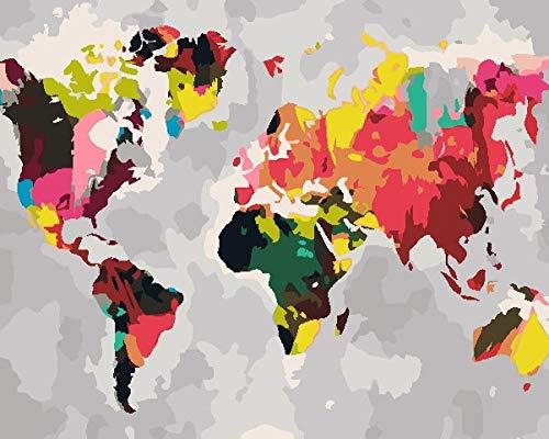 Pintura Por Números Mapa Del Mundo Lienzo Con Diy Bricolaje Adultos Niños Decoracion De Pared Regalos-40X50Cm(Sin Marco)