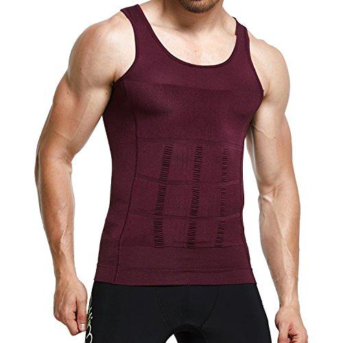 GKVK Mens Slimming Body Shaper Vest Shirt Abs Abdomen Slim, Purple, M(chest size 86cm-91cm/34inches-36inches)