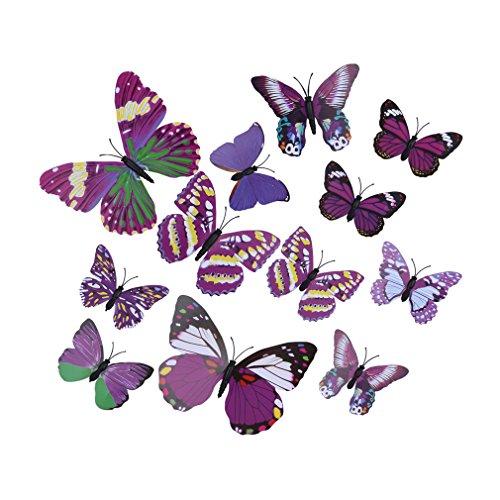 EOZY-3D Colorato Farfalla Adesivo da Parete Frigo Vetro Finestra 12pcs in Set-Serie Viola