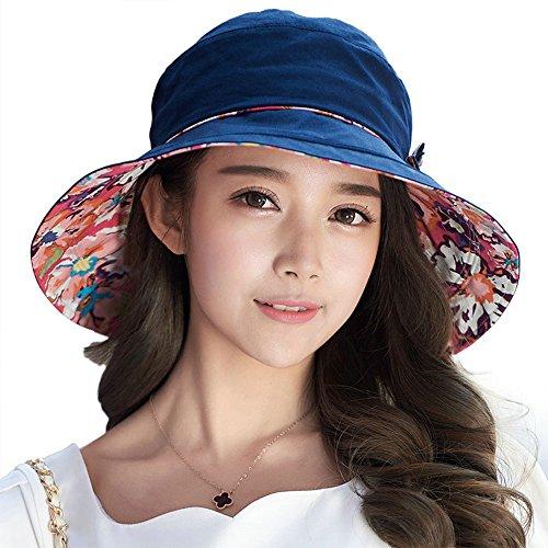 Comhats Faltbarer Damen Sonnenhut Sommerhut UPF50 + Sun Shade breite Krempe aus Baumwolle Schwarzblau