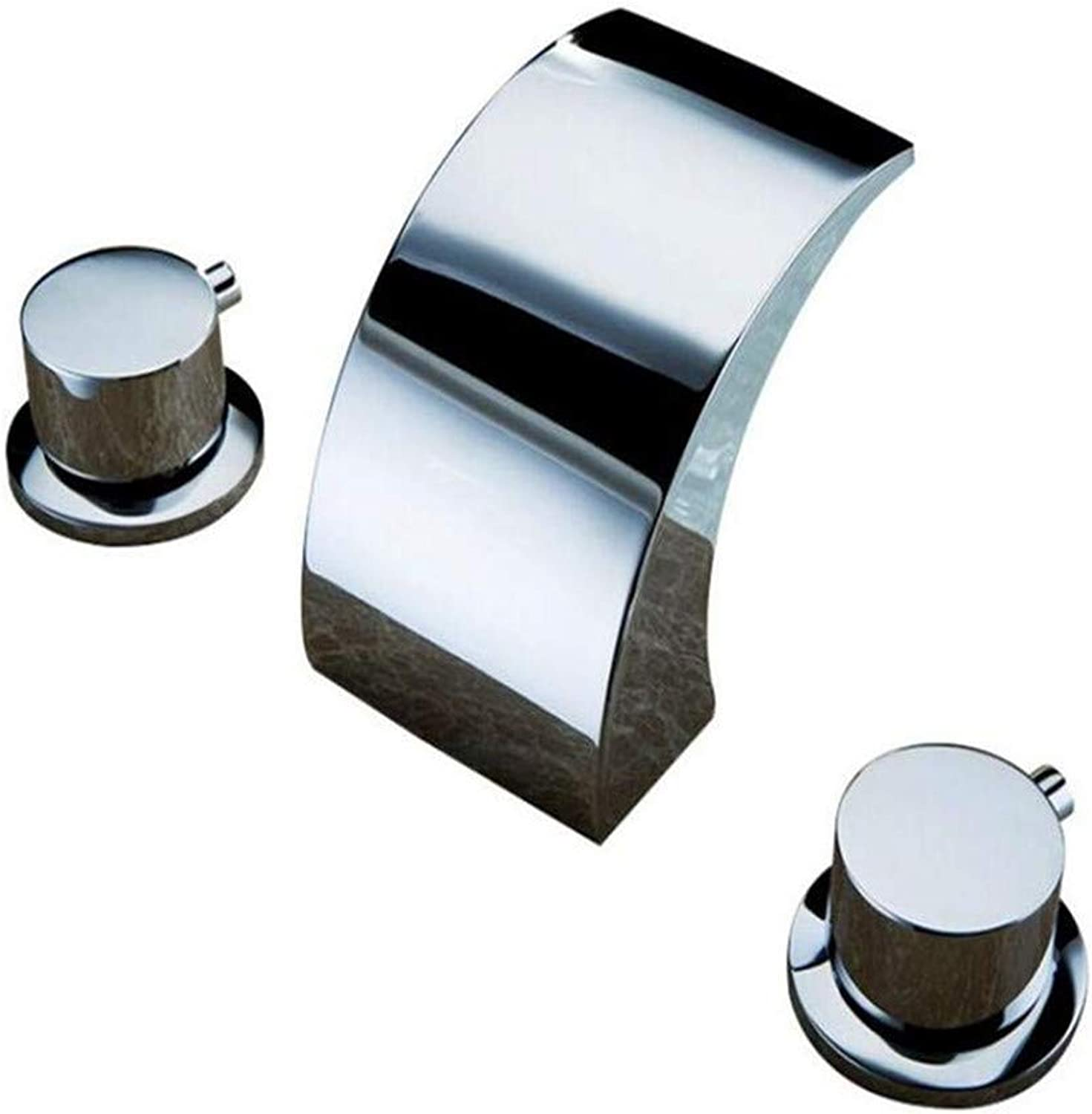Modern Brass Chrome Hot and Cold Water Bathroom Taps Three Hole Basin Waterfall Round Handle High Quality Water Tap