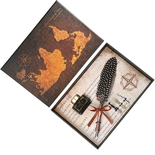 DHTOMC Juego de pluma estilográfica de gama alta con diseño natural, para banquetes de boda, caligrafía con puntas para plumas estilográficas, papelería LCMUS (color: amarillo, tamaño: libre)