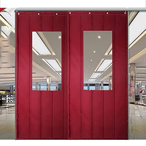 Gzhenh Tenda for Porta Termica,Riduzione del Rumore Mantieni Caldo La Tenda in Cotone con Finestra Trasparente per Condizionatore Riscaldatore Camera/Cucina (Color : Red Wine, Size : 1.2x2.2m)