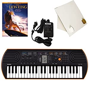 Casio SA-76 44 Key Mini Keyboard Deluxe Bundle Includes Bonus Casio AC Adapter  Desktop Music Stand & The Lion King Beginning Piano Solo Songbook