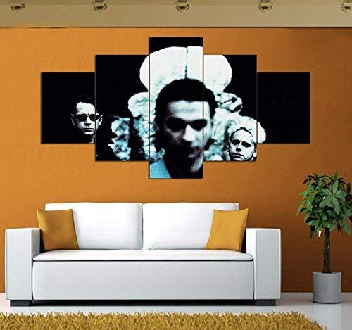 Airxcn 5-teilige Paneele Leinwand Wandkunst Depeche Mode Musik Groß 5 Stück Leinwand Wandkunst Moderne Dekoration Kunstwerk Home Wohnzimmer Birthday Geschenk