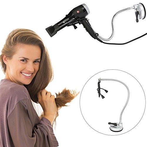 360 Grad Drehungs-Föhn-Stand, rostfreier Haartrockner-Hände frei Halter mit der Saug-oben für Glasdesktop-glatte Oberfläche
