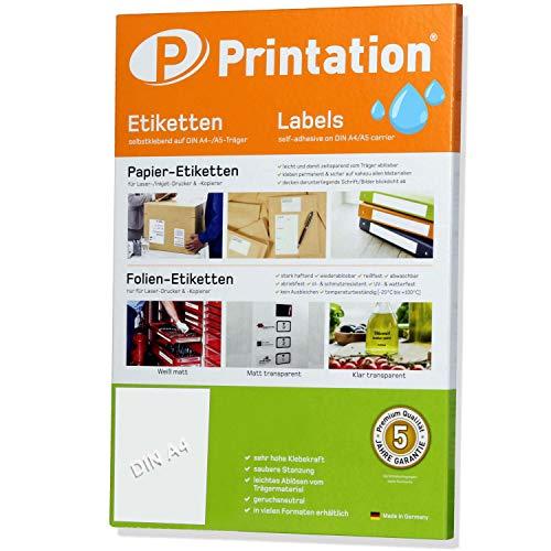 Etiketten 210 x 297 mm WEERBESTENDIG wit mat op DIN A4 vel - 1 etiket/pagina - 10 folieetiketten 210x297 zelfklevend bedrukbaar met laserprinter