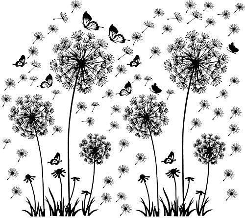 2 Stück Wandtattoo Pusteblumen Schmetterlinge Fliegen im Wind Wandsticker, Wohnzimmer Schlafzimmer Entfernbare Wandtattoos Wandbilder