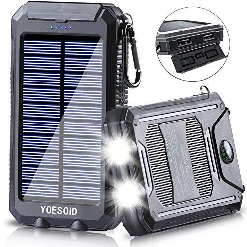 Solar Charger 20000mAh YOESOID Portable Solar Power Bank with Dual USB Output...