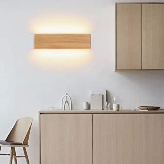 AOKARLIA Wall Lights Indoor Uplighter Wall Lamps Solid Wood Modern Wall Lamp for Living Room LED Wall Lamps for Bedroom Wooden Chandelier Ideal for Living Room Corridor Bedroom Light,528