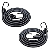 2 corde elastiche da 120 cm, resistenti, con ganci, per auto, roulotte, bagagliaio, campeggio, camper, colore nero