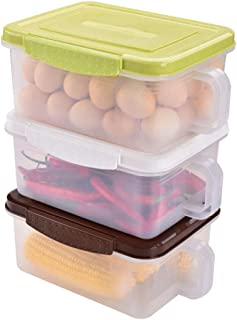 WWJHH-Food storage box BoîTe De Rangement De Cuisine RéCipient De Nourriture - 3 Ensembles Empilable - Facile à Trier - Cé...