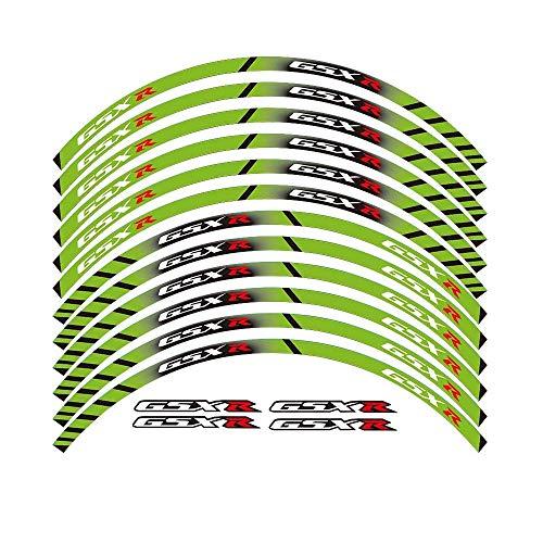 Motos Pegatinas 12 X Grueso Borde Exterior de la Costa del Parachoques Raya Adhesivos de Ruedas Adaptarse a Todos los Suzuki GSXR 250 400 600 1000 750 GSXR1000R GSXR1000 GSXR600 750 (Color : Green)