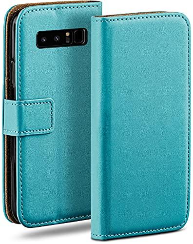 moex Klapphülle für Samsung Galaxy Note8 Hülle klappbar, Handyhülle mit Kartenfach, 360 Grad Schutzhülle zum klappen, Flip Hülle Book Cover, Vegan Leder Handytasche, Türkis