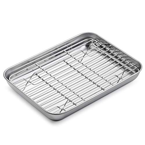 WEZVIX Stainless Steel Baking Sheet with Rack Set Tray Cookie Sheet & Oven Pan 9 x 7 x 1 inch, Non Toxic & Healthy, Rust Free & Less Stick, Thick & Sturdy, Easy Clean & Dishwasher Safe